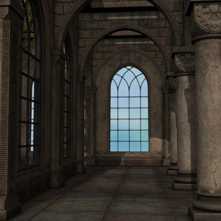 usage: magic window in a fantasy setting. 3D rendering of a fantasy theme for background usage.