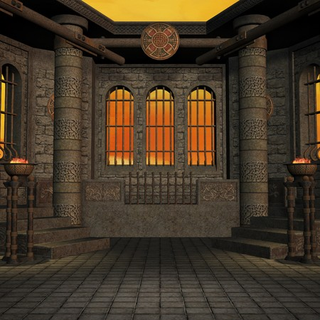 quietude: magic window in a fantasy setting. 3D rendering of a fantasy theme for background usage.