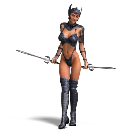 heroine: female amazon warrior with sword and armor.