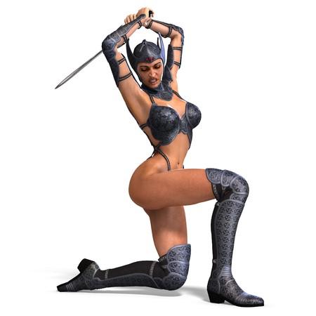 weibliche Amazon Krieger mit Schwert und Rüstung.  Lizenzfreie Bilder - 7569859