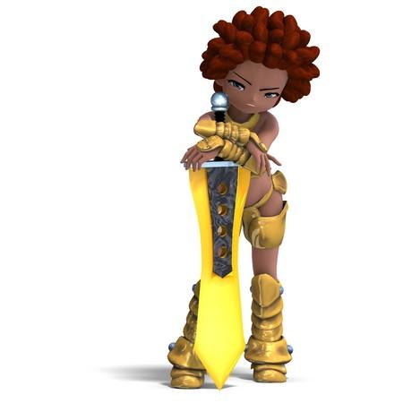 diehard: female fantasy manga knight as a cartoon guard.