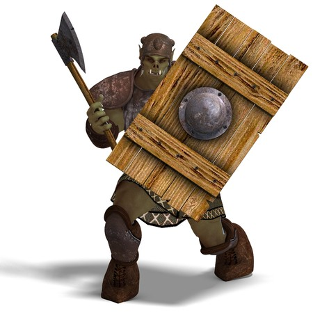 thuggish: Male Fantasy Orc Barbarian with Giant Axe.  Stock Photo