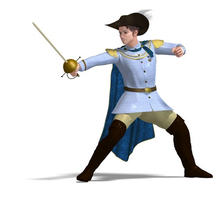 joust: fairytale prince with sword and cape.