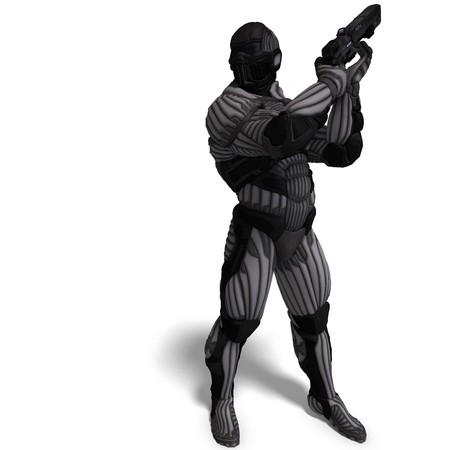futurity: science fiction male character in futuristic suit.