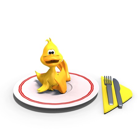 dinky: cute and funny toon duck served on a dish as a meal.  Stock Photo