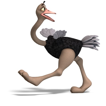 chiefly: cute toon ostrich gives so much fun.  Stock Photo
