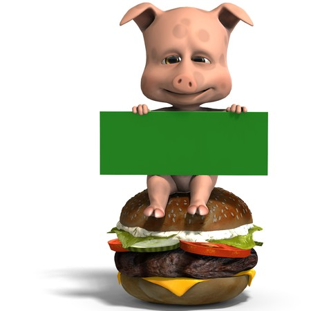 cute toon pig invites to a burger party.  photo