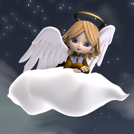 patronize: cute cartoon angel with wings and halo.