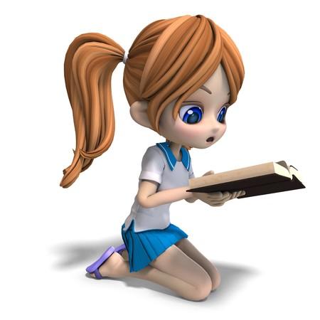 cute little cartoon school girl reads a book.