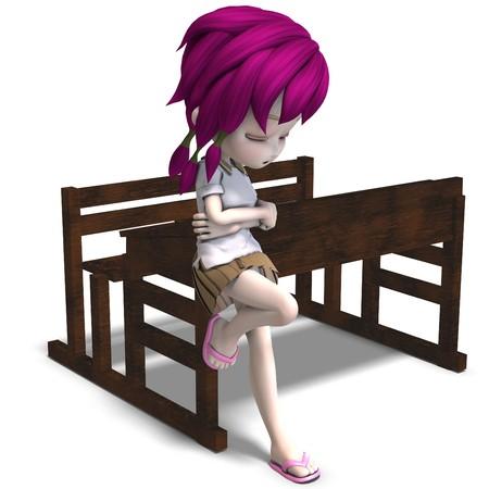 cute cartoon school meisje op de vorm van een school.  Stockfoto