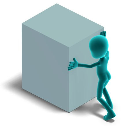dinky: symbolic 3d male toon character push a big box.