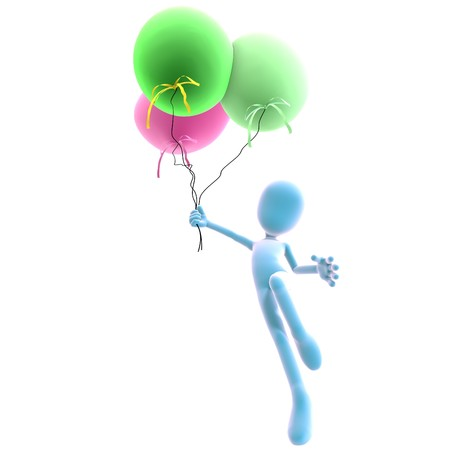 3d male icon toon character with three colorful balloons.