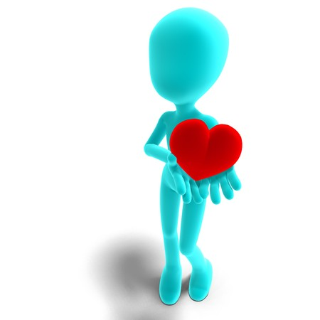 symbolic 3d male toon character holds his heart in his hands.