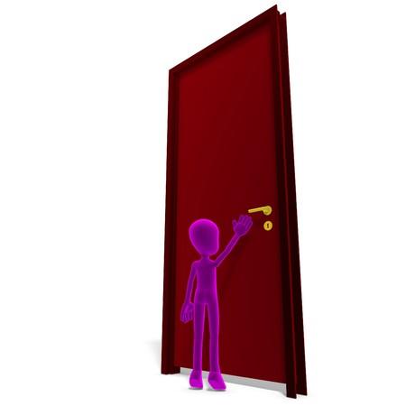 arcane: symbolic 3d child toon character opens the door.  Stock Photo
