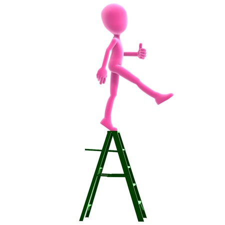 3d male icon toon character does the critical step. Stock Photo - 7569610