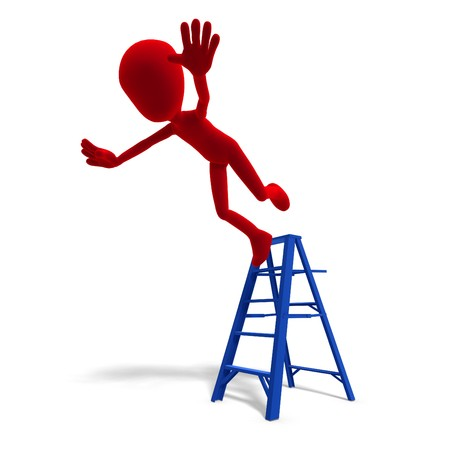 the precaution: 3d male icon toon character falls from the ladder.  Stock Photo