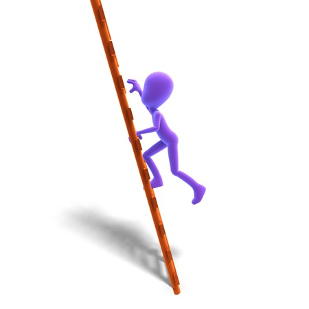 dinky: 3d male icon toon character climbs the ladder.