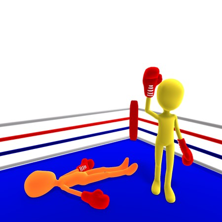 defeat: 3d male icon toon character wins the boxfight.