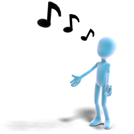 choral: 3d male icon toon character sings out loud.  Stock Photo