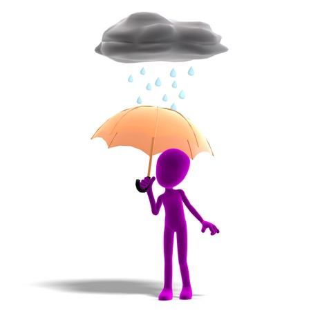 3d male icon toon character standing in the rain with an umbrella.  photo