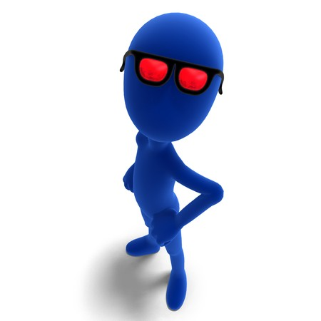 3d male icon toon character looks very cool with his glasses. Stock Photo - 7569657