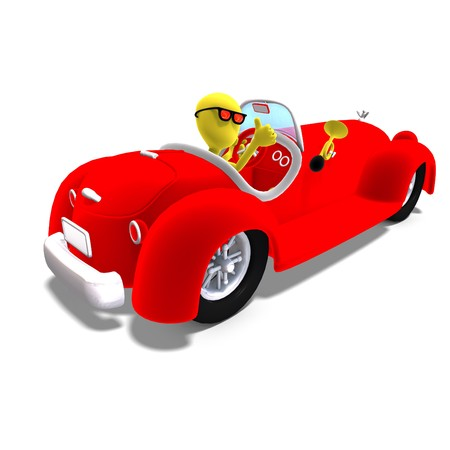convertible: 3d male icon toon character driving a huge car.