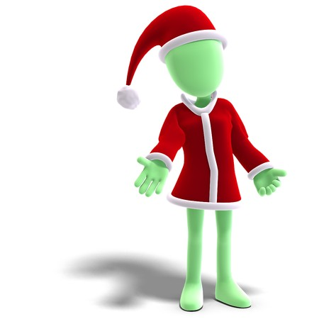 thoughtfulness: 3d male icon toon character as Santa Claus.