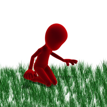 dinky: 3d male icon toon character watching the grass growing.  Stock Photo