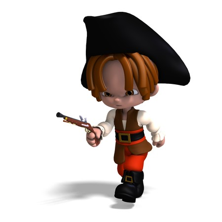 sweet and funny cartoon pirate with hat.  photo