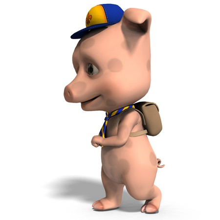 pathfinder: cute toon pig as a boy scout. Stock Photo