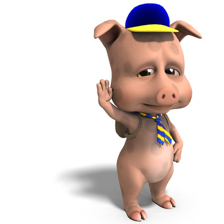 pathfinder: cute toon pig as a boy scout.