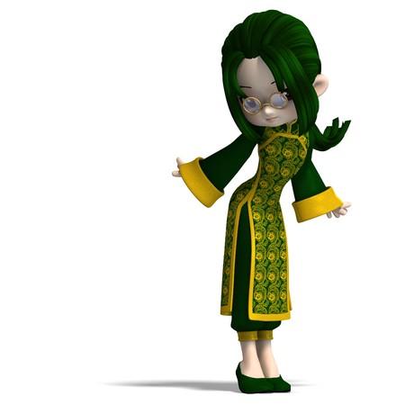 funny cartoon girl in green china dress. photo