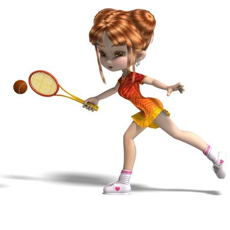 femme: cartoon girl with racket plays tennis.  Stock Photo