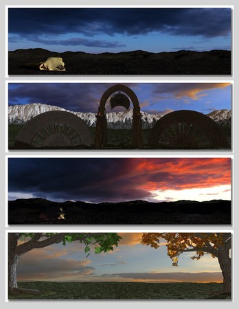 backcloth: four different fantasy landscapes for banner, background or illustration. with clouds, mountains and sunset