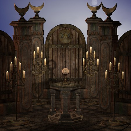 usage: archaic altar or sanctum in a fantasy setting. 3D rendering of a fantasy theme. ideal for background usage.