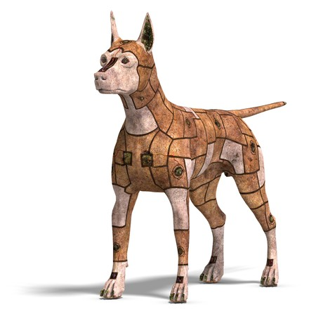 watchdog: rusty scifi dog of the future.3D rendering