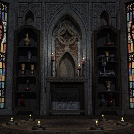 altar: archaic altar or sanctum in a fantasy setting. 3D rendering of a fantasy theme. ideal for background usage.