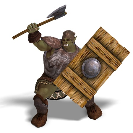 Male Fantasy Orc Barbarian with Giant Axe  photo