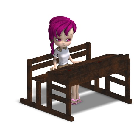 cute little cartoon school girl sitting on a school form Stock Photo - 8466462