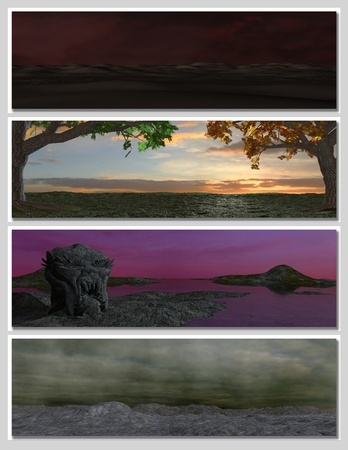 four different fantasy landscapes for banner, background or illustration. 3D rendering  Stock Illustration - 8608810