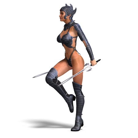 joust: female amazon warrior with sword and armor