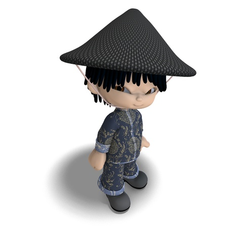 little cartoon china boy is so cute and funny photo