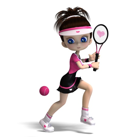 girl tennis: sporty toon girl in pink clothes plays tennis