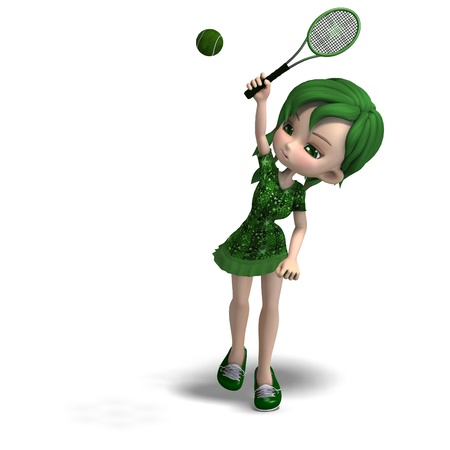 toon girl in green clothes with racket and tennis ball photo