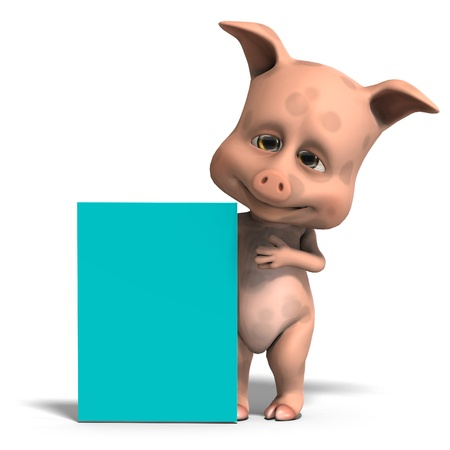 chiefly: invitation from a cute and funny toon pig Stock Photo