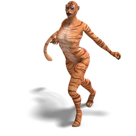cola mujer: Tigre de figura femenina de fantas�a