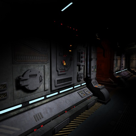 background image of a dark corridor on bord of a spaceship.
