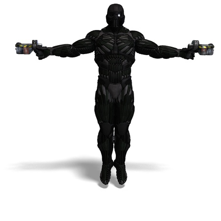 rapid fire: science fiction male character in futuristic suit