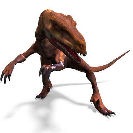 assail: Dinosaur Deinonychus. 3D rendering and shadow over white Stock Photo