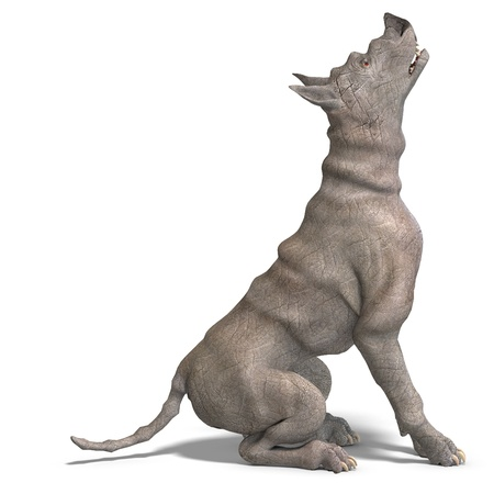 waterspuwer:  curious alien dog with rhino skin and horn. 3D rendering and shadow over white Stockfoto